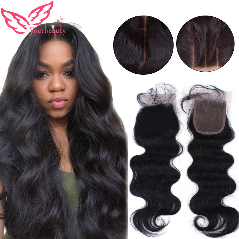 4X4 Malaysian Three Part Closure Body Wave Closure Virgin