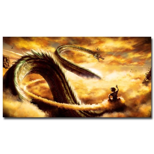 Goku Ride Shenron Dragon Ball Z New Anime Art Silk Fabric Poster Huge Print 12x22 32x59 Inch Wall Picture Home Room Decor 016