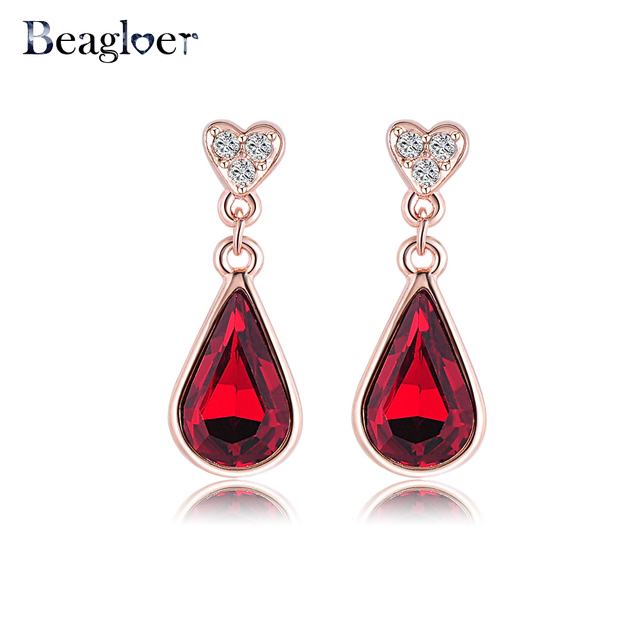 Beagloer Brand Pendant Woman Earrings Rose Gold Color Elements
