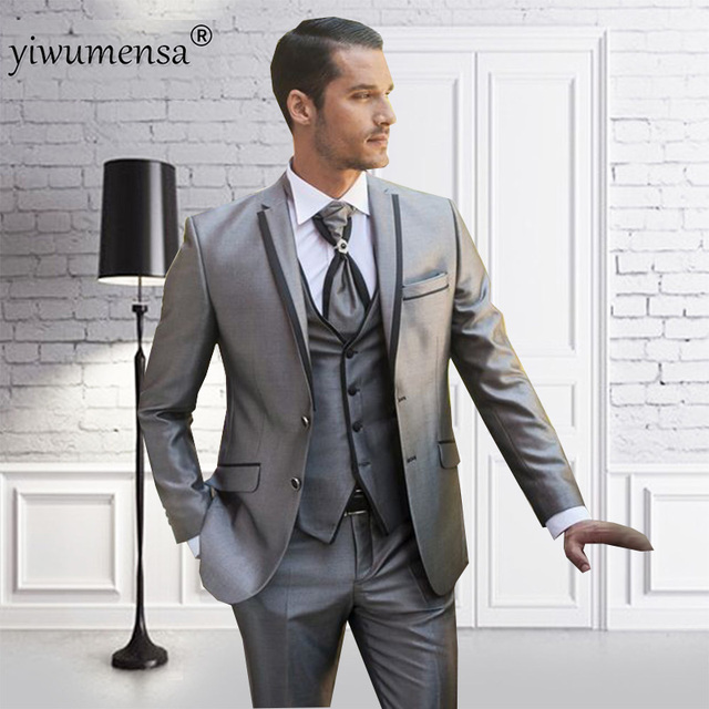 Yiwumensa Latest Coat Pant Designs 2018 Men Suit Wedding Groom Silver With Black Material 3 Pieces