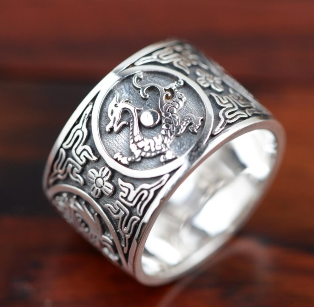 hot sell new - free shipping 925 Sterling Silver Soldier Boluomiduo theheart Sutra Scripture Ring Mens hot sell new free shipping handmade jadoku ethnic clothing chain yaolian multipurpose silver tube fluids necklace