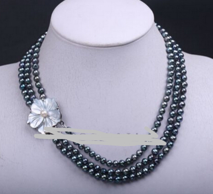 Handmade Row Black Cultured Freshwater Pearl Choker Necklace Mussel Shell Clasp