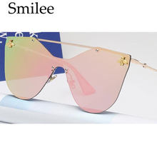 Rimless Cat Eye Sunglasses Women Brand Designer Bee Sun Glasses Fashion Luxury Big Frame The high quality Top Quality UV400 0374(China)