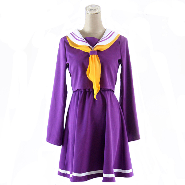 Anime Game No game no life cosplay Shiro costume Halloween women clothes carival dress wigs sailor suit Japanese school Uniform