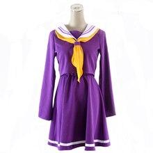 Fantasia de halloween feminina, cosplay de anime sem jogo, shiro, vestido carival, uniforme escolar, japonês