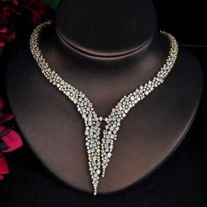Image 3 - HIBRIDE Nieuwe Dubai Gouden Sieraden Sets Voor Vrouwen Bruids Bruiloft Accessoires 4 stuks Ketting Ring Armband Oorbel Set N 707