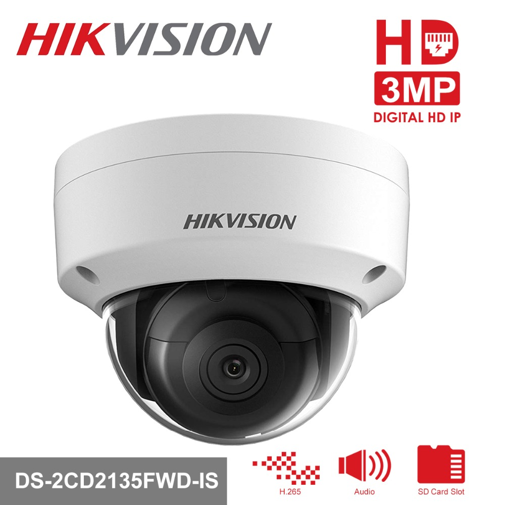 Hikvision H.265 PoE IP Camera DS-2CD2135FWD-IS 3MP WDR Fixed Network CCTV Camera Built-in SD Card Slot replace DS-2CD2135F-IS in stock english version ds 2cd1131 i replace ds 2cd2135f is ds 2cd2135f iws 3mp network camera with poe