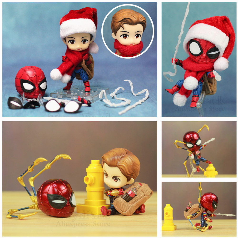Marvel Homecoming Avengers 3 Cute Iron Spiderman Spider Man 10cm Action Figure Q Tom Holland Toys Doll KO's Nendoroid 781 1037