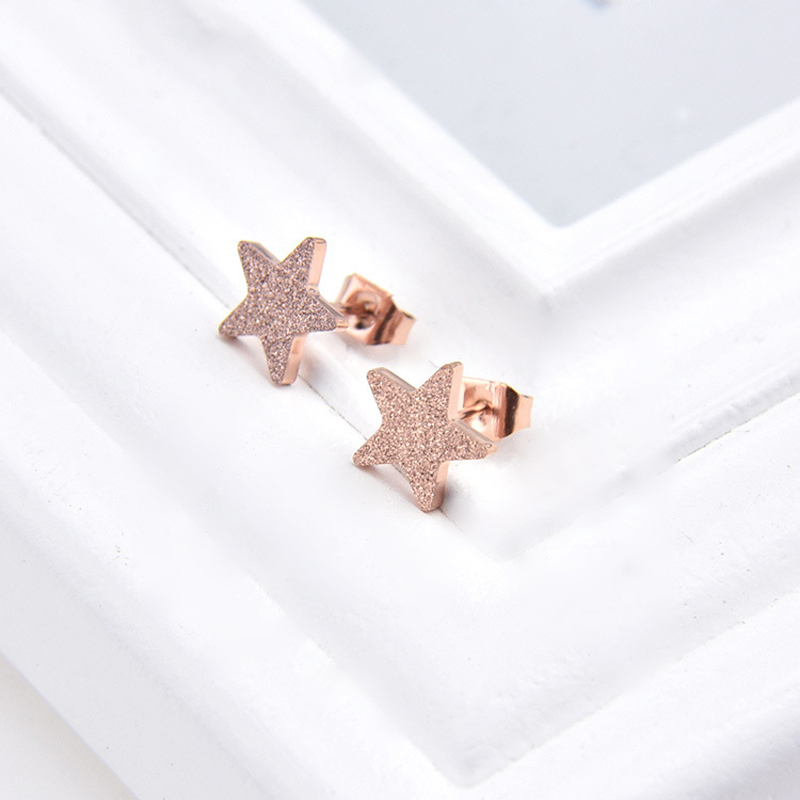 ZMZY Rose Gold Color Stainless Steel Women's Earrings Charm Star Stud Earring Fashion Jewelry Statement Brincos Wholesale