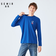 SEMIR Long sleeve T-shirt men 2019 autumn new cotton clothes men's personality printing round neck tshirt students(China)