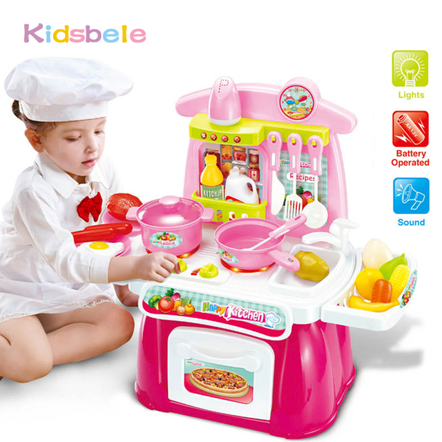 Children Kitchen Toys Pretended Play Set Electronic Musical Light Toys Kids  Pretend Simulation Toys Mini Cooking
