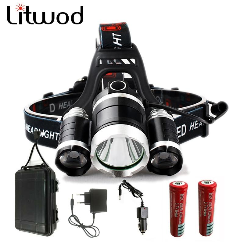 LitwodZ20 Led Headlamp Headlight XM-L 3T6 9000LM Head Lamp Flashlight Torch Lanterna Led Headlamp 90 Degree night lights