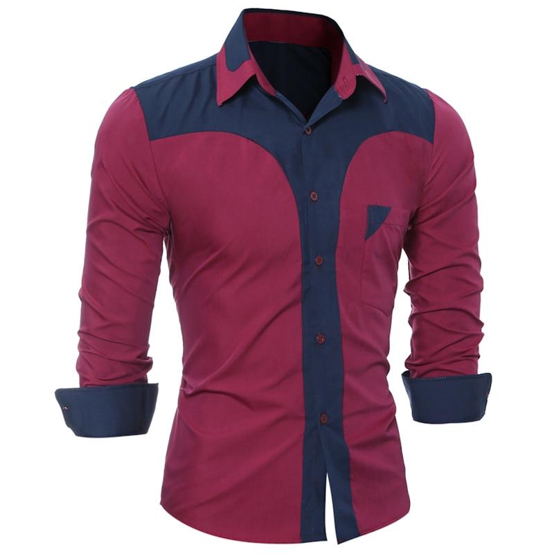 WSGYJ Brand 17 Fashion Male Shirt Long-Sleeves Tops Fashion Youth Hit Color Mens Dress Shirts Slim Men Shirt 3XL 12
