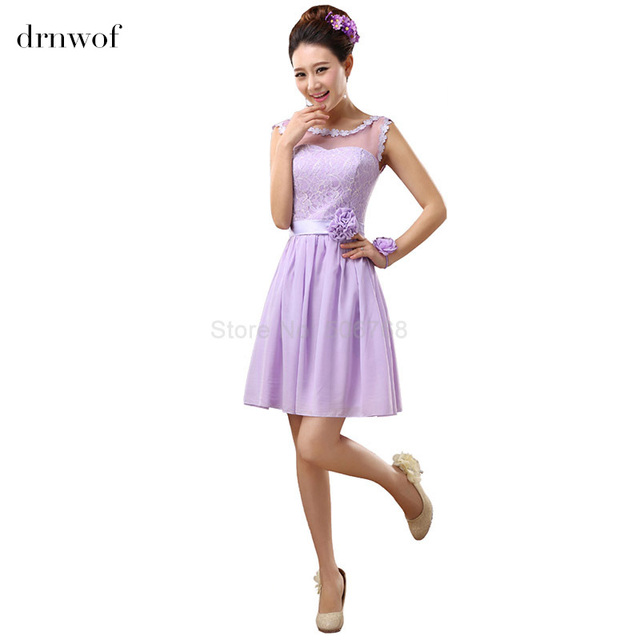 Drnwof 2017 Short Bridesmaid Dresses Fit Junior Sleeveless A Line