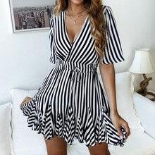 купить Vintage striped women dress V neck ruffle cotton short autumn dress plus size Sexy casual lady female vestido festa 2019 онлайн