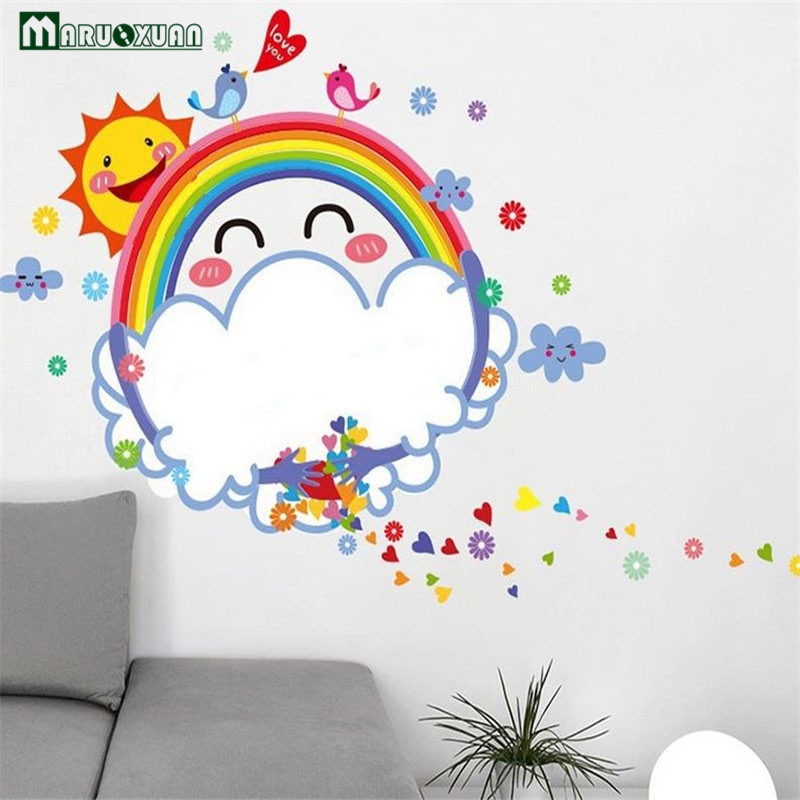 YunXi Rainbow Sun Whiteboard Sticker Cartoon Kids Room Teacher Bedroom Background Decorations Removable Wall Stickers