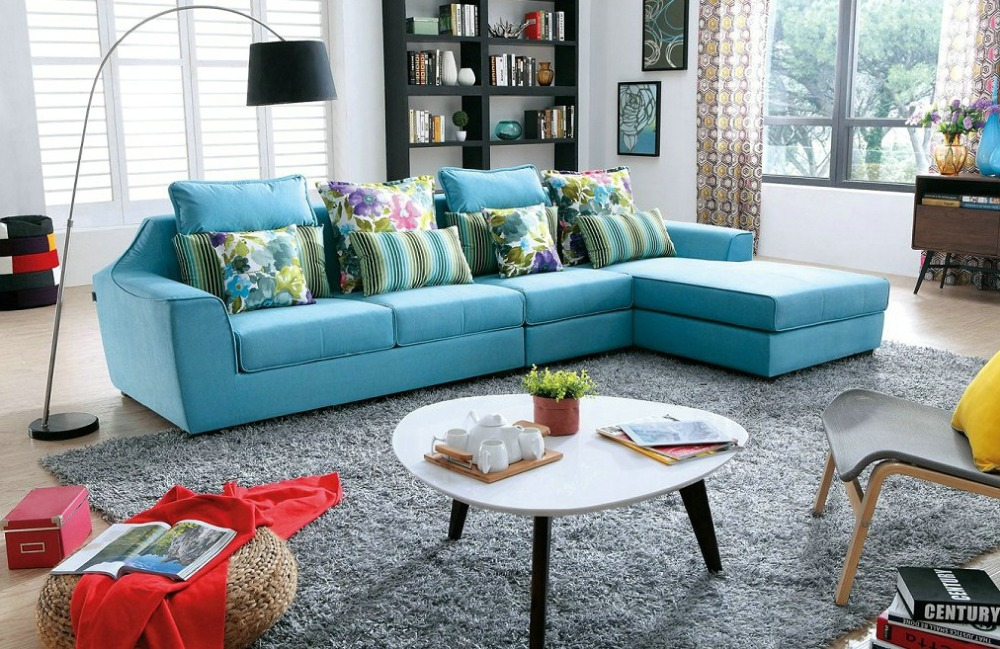 2016 no beanbag muebles for living room european style set modern fabric hot sale low price factory direct sell fabri sofa - Blue Living Room Set