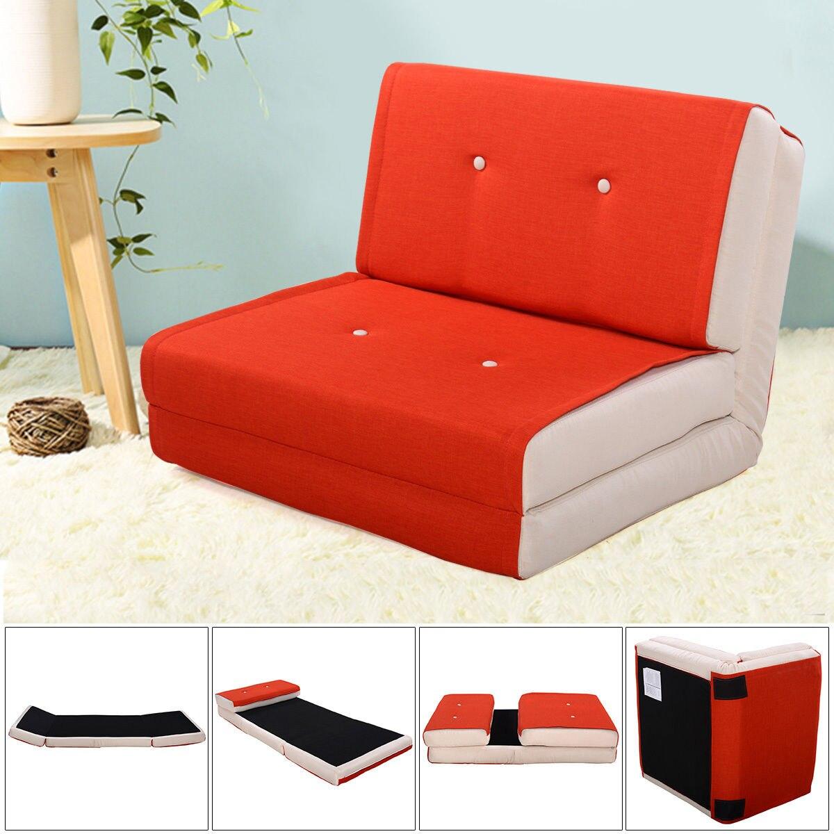 Giantex Folding Sofa Bed Modern Convertible Split Back Linen Futon Lovesear Sofa Chair Living Room Couch Recliner HW52681DKRE
