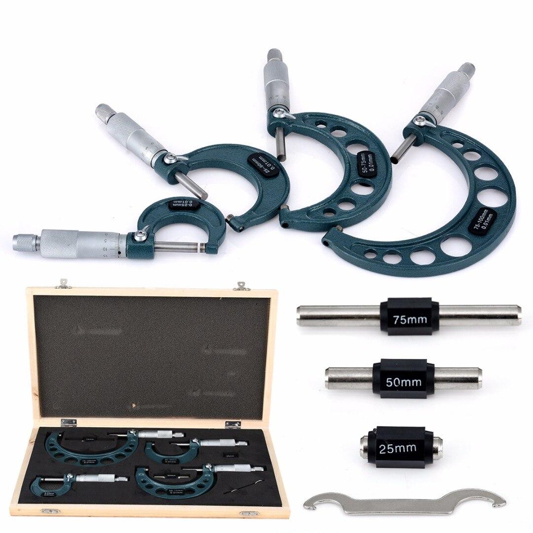 4 pcs Nouveau Jeu De Micromètre Extérieur Précision 0.01mm Précision Carbure Machiniste Outils 0-25mm/25- 50mm/50-75mm/75-100mm
