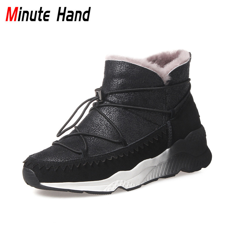Minute Hand New Sheepskin Fur Snow Boots Women Winter Ankle Boots Genuine Leather Casual Platform Wedge Warm Wool Russian Boots
