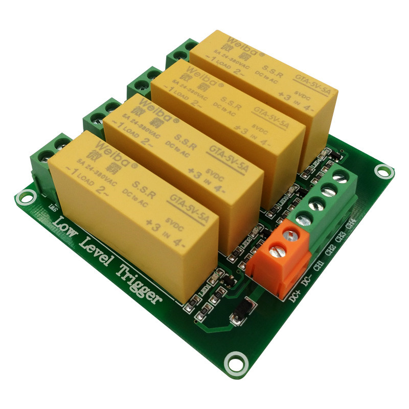 4 channel low level trigger DC control AC solid-state relay module 5V12V24V load 5A for PLC automation equipment control
