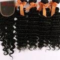Топ 7А Перуанский Глубокая Волна С Закрытием 4 шт. Мечта Удивительные волосы Перуанский Девы Волос Deep Вьющихся Волос Связки С Кружевом Закрытие