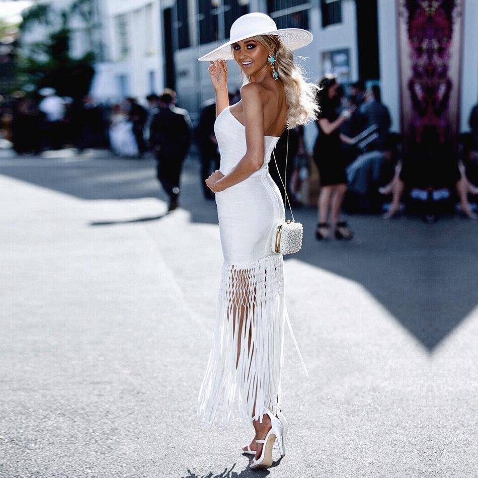 Femmes Sans Maxi Fête D'été Gland Sexy Blanc Dressbird Bandage Tenue White Robes Celebrity Moulante Élégant De Robe Bustier Manches b7vyYfmI6g