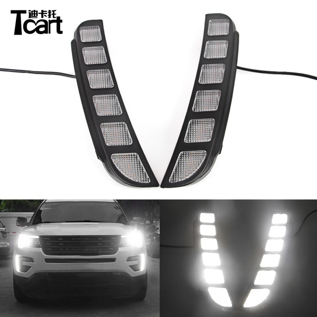 Tcart Led Daytime Running Lights For Ford Explorer 2016 2018 Waterproof Abs Cover Car