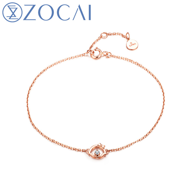 ZOCAI 2016 New Arrival Chi-Bi Sakura Real 0.03 CT Diamond Blacelet 18K Rose Gold (Au750) S80074T
