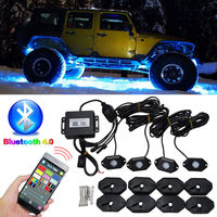 4Pcs RGB LED Rock Light Kits Bluetooth Remote Control Lights For Off Road Truck Car ATV