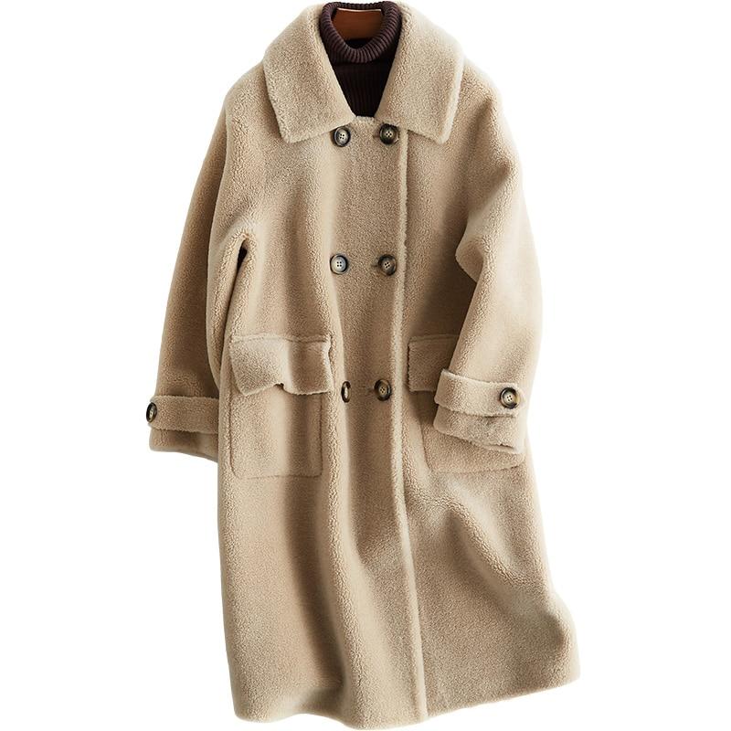 100% Laine Veste Automne Hiver Manteau Femmes Vêtements 2018 Réel Manteau De Fourrure Coréenne Mouton Mouton Fourrure Manteaux Longs PU Doublure ZT812