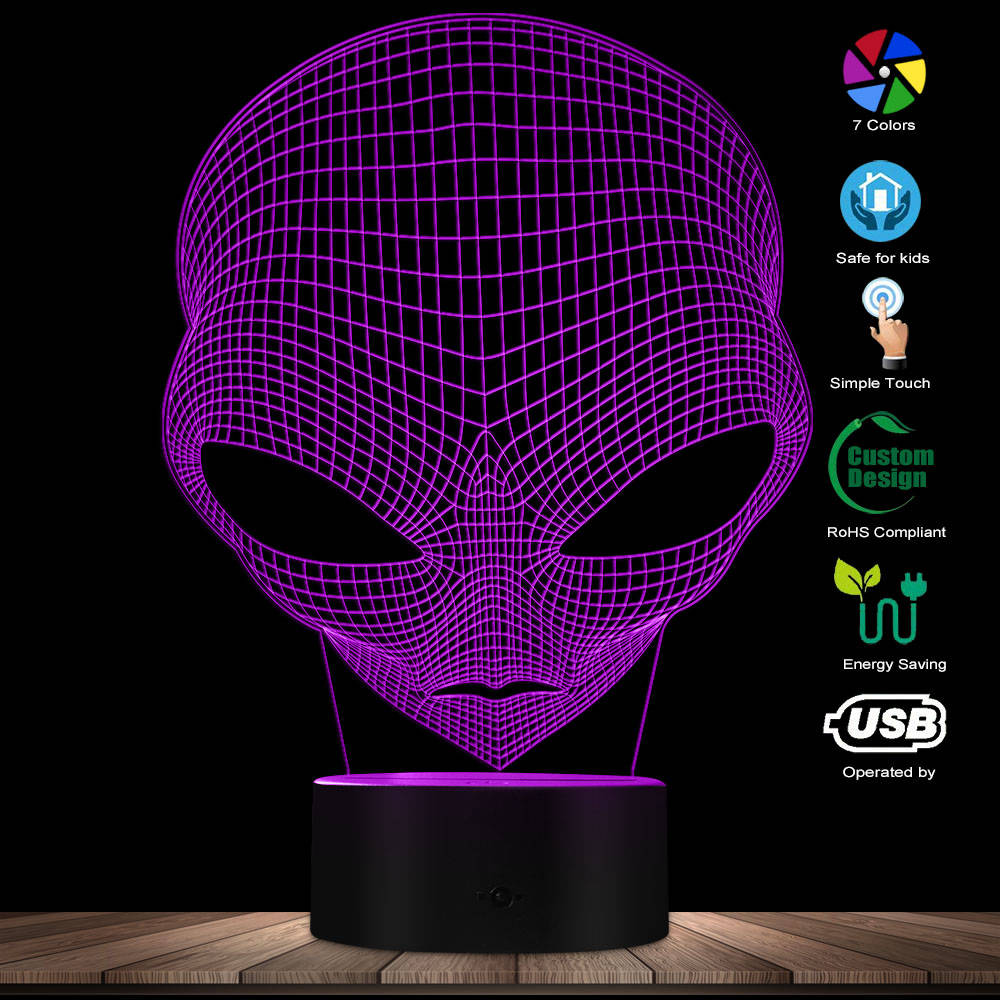 3D Pop-eyed Alien Collection Instinct LED Optical Illusion Novelty Night Light Color Changing LED Light Cartoon Night Lights