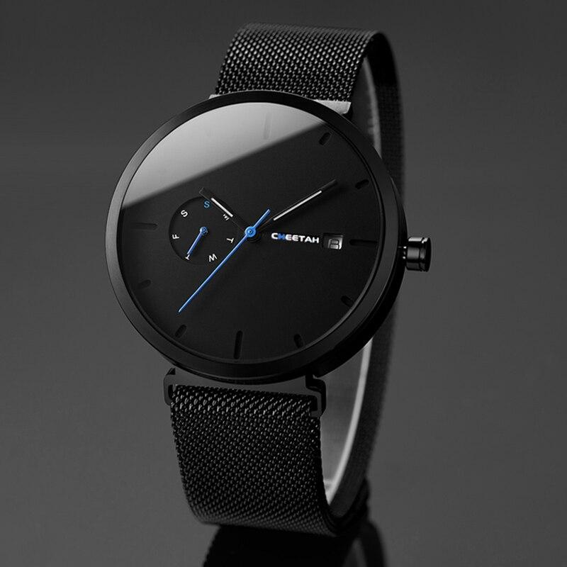 Nouvelle montre pour homme quartz pour mode décontractée Montres Étanche Bleu Point Simple Hommes Montre-Bracelet Mâle Date Semaine Horloge Relogio Masculino - 3