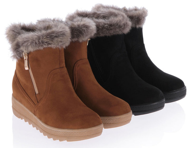 95ace2f6910f3 Ladies Fashion Boots Faux Fur Trim Winter Zipper Wedge Snow Boots High  Heels Shoes Woman Ankle Boots For Women