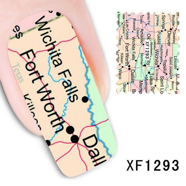 Map Design Water Transfer Nails Art Sticker Decals Lady Women