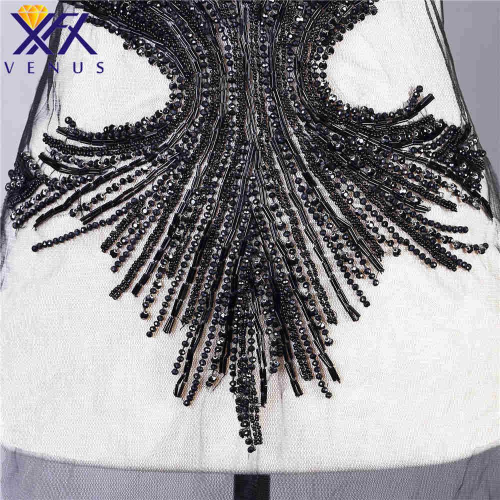 XFX VENUS vestido hecho a mano parche apliques de diamantes de imitación perlas apliques bordado parche de boda para DIY vestido-in Parches from Hogar y Mascotas    3