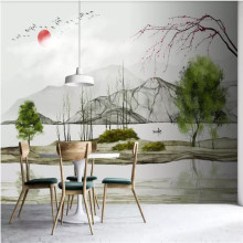 Custom wallpaper new Chinese modern art ink landscape background wall painting decorative