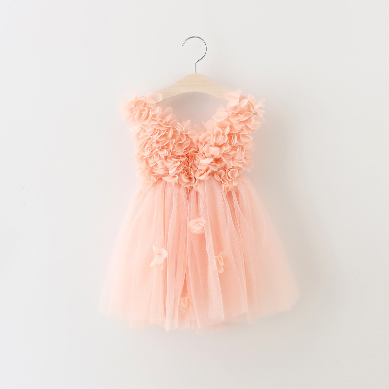 Girl Pink Princess Dress 2017 Flower Summer Baby Girls Party Lace Fancy Tulle Party Dresses 2-7Y high quality handmade diy baby girls tutu dress gift summer flower girls party dress pink plum tulle dress free shipping