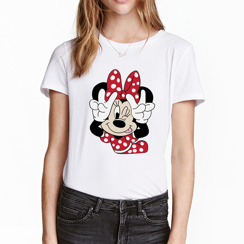 Mickey And Minnie T-shirt Women Summer Super Cute Cartoon Tshirts Brand Comfortable Casual Tops Harajuku Hipster Girl Tee