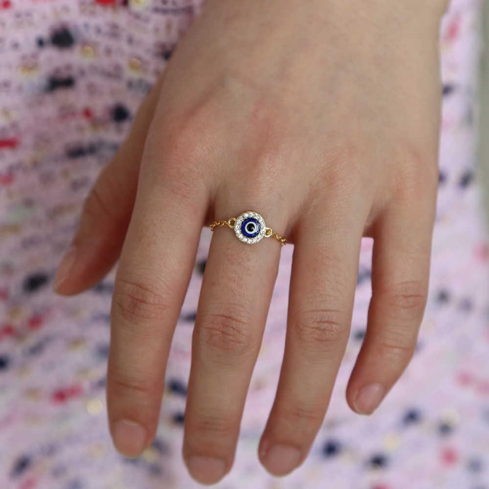 รอบ disco bluel เคลือบตุรกี evil eye charm chain แหวนราคาถูกขายส่งแฟชั่นแหวนนิ้วมือ