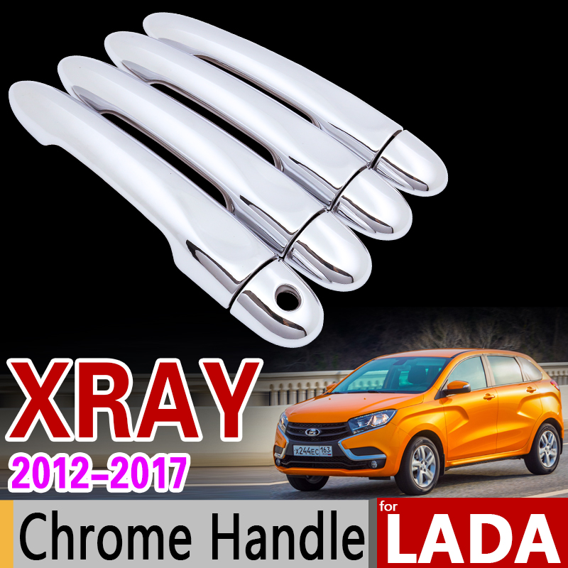 for LADA XRAY Luxurious Chrome Door Handle Cover Trim Set 2015 2016 2017 2018 Never Rust Car Accessories Sticker Car Styling nitro triple chrome plated abs mirror 4 door handle cover combo