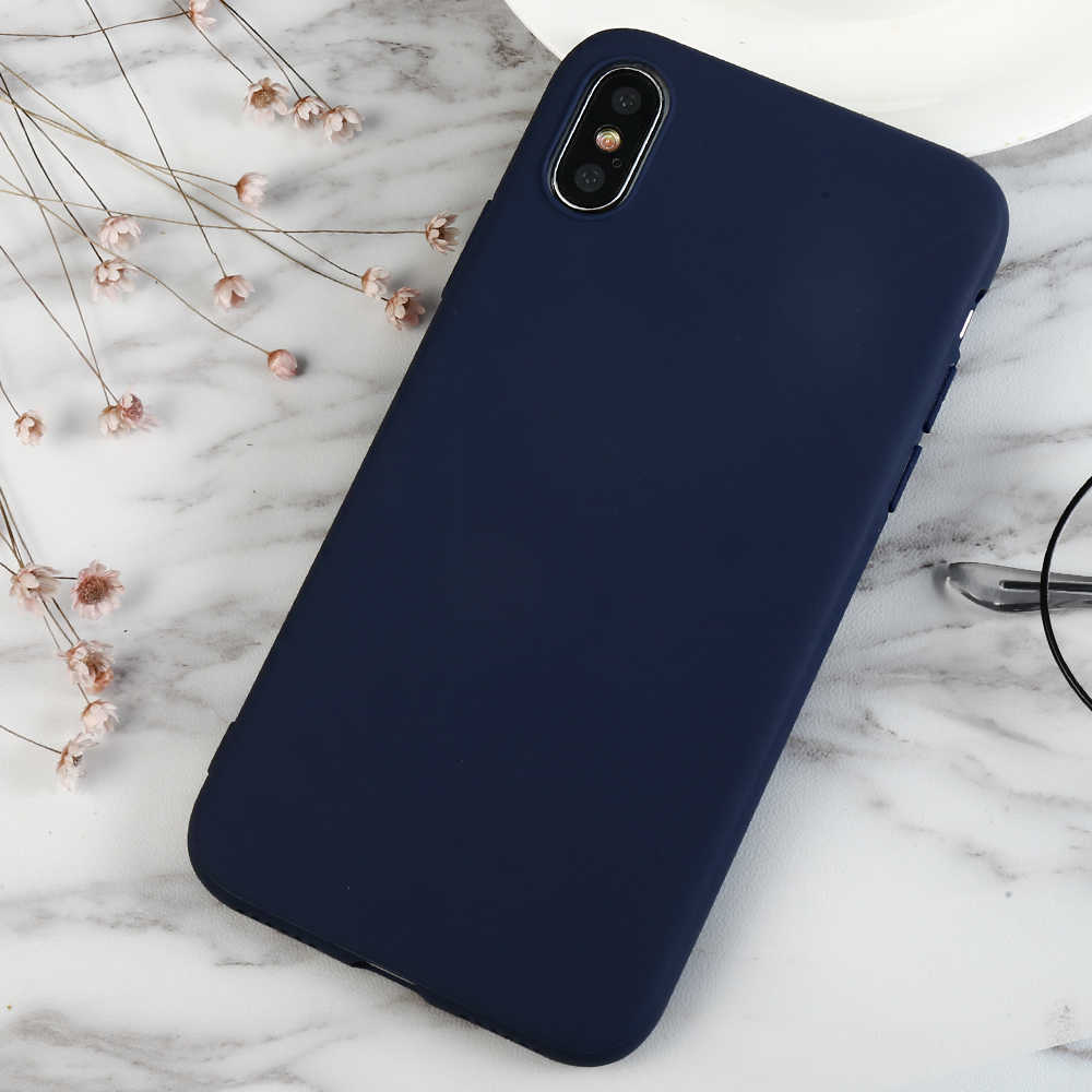 Funda de teléfono azul oscuro para Iphone X XS Max XR 8 7 6 6 S Plus 5 5S Se funda completa mate de color verde sólido para Iphone 7 8 Plus