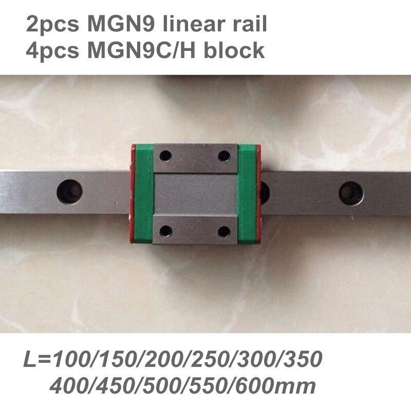 2 pz 9mm Guida Lineare MGN9 100 150 200 250 300 350 400 450 500 550 600mm lineare rail + 4 pz MGN9H o MGN9C blocco 3d stampante CNC