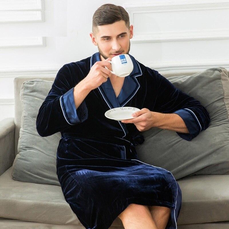 Men  100%Silk Sleepwear Luxury Bathrobe Blue Pure Silk Robes Imitation Full Sleeve Nightwear Winter Spring Fall Man Silk Robes