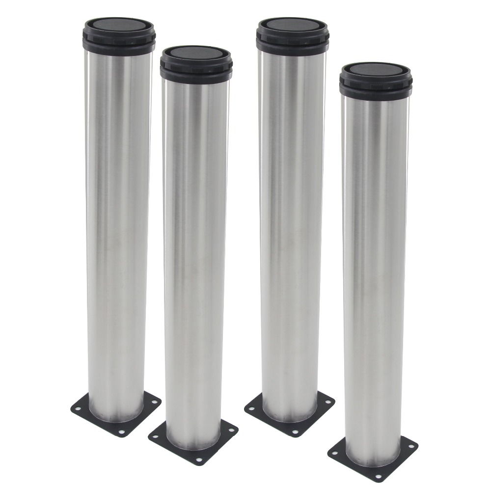 4pcs 400mm Length Furniture Legs Adjustable 15mm Silver Tone Stainless Steel Table Bed Sofa Leveling Foot Cabinet Legs 4pcs 150mm height furniture legs adjustable 10 15mm cabinet feet silver tone stainless steel leveling feet for table bed sofa