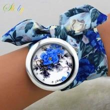 shsby 2017  New design Ladies flower cloth wrist watch fashion women dress watch high quality fabric clock sweet girls watch