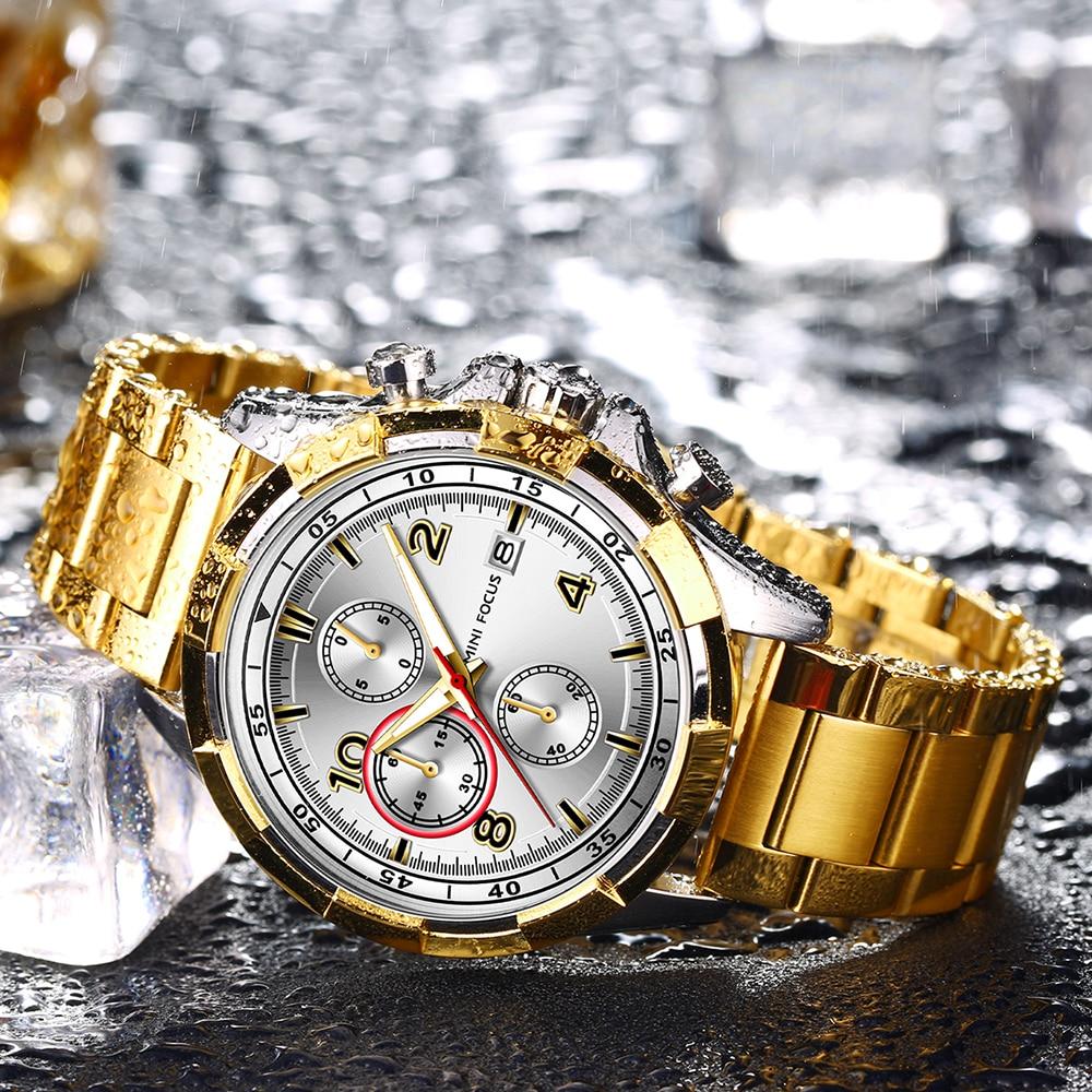 MINI FOCUS Men Fashion Military Dress Analog Watch 3 Sub-dials Multifunction Stainless Steel Strap BLUE RG Mens Top Brand Luxury