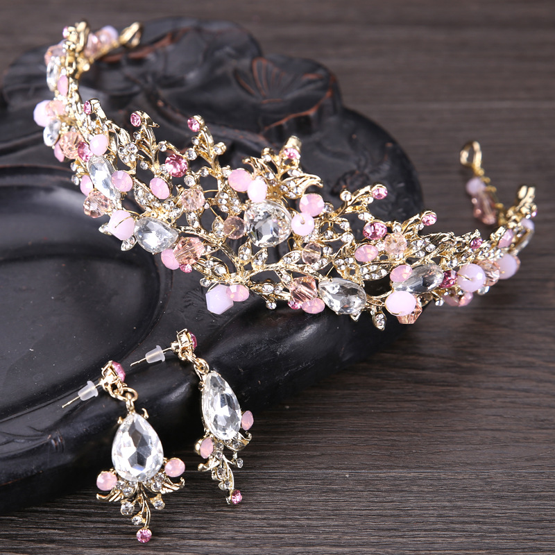 Fashion Design Pink Leaf Crystal Bride Necklace Earrings Tiaras Crowns Bridal Wedding Jewelry Set Accessories For Women