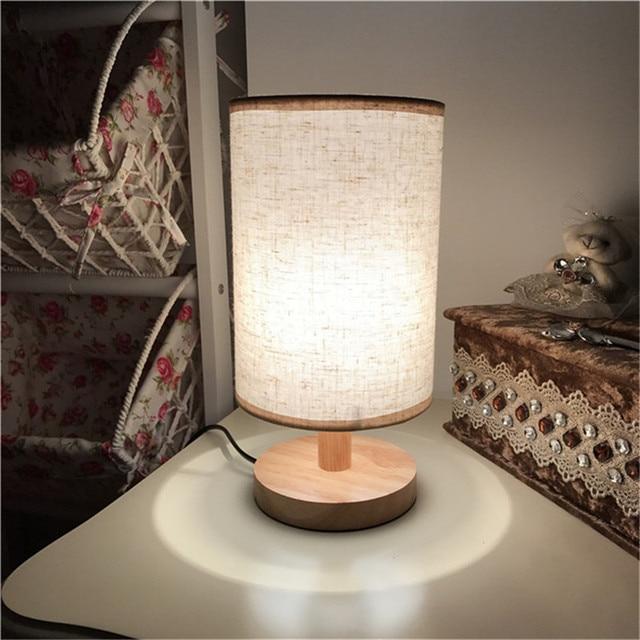 European Style Modern Wood Table Lamp Usb Plug Bedroom Bedside Indoor Living Room Night