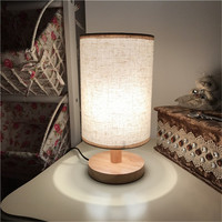 European Style Modern Wood Table Lamp USB Plug Bedroom Bedside Lamp Indoor Living Room Bedroom Night